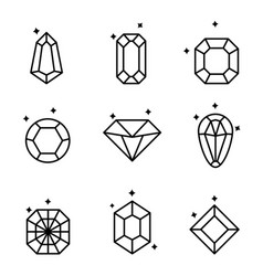 set diamonds and crystals isolated on white vector image