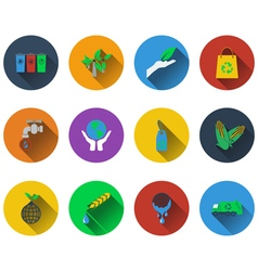 Set of ecological icons in flat design vector image