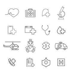 set of medical help icons vector image