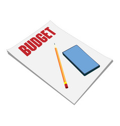 Sheets paper budget plan pencil and vector