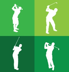 silhouettes golf player vector image