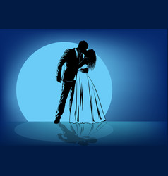 silhouettes of kissing bride and groom against the vector image