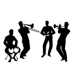 Silhouettes of latin band four latin musicians vector