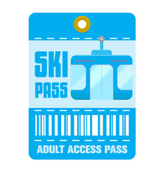 Ski pass template flat style vector