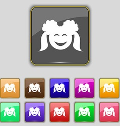 Smiling girl icon sign Set with eleven colored vector