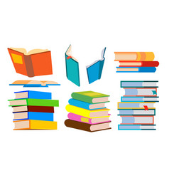 stack of books pile different angles vector image