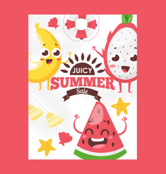 summer fruits on typographic poster vector image