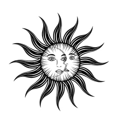 Sun moon face mystic vector