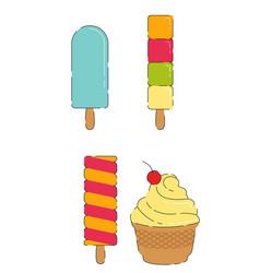 sweet cool ice cream set vector image