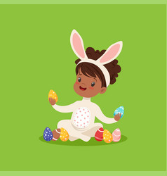 Sweet little african american girl with bunny ears vector