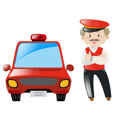 Taxi driver with red taxi vector