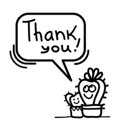 thanks card with cute cactus succulent and text vector image