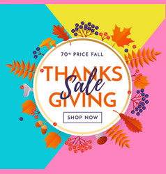 thanksgiving fall sale poster banner background vector image