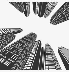 top architecture skyscraper in perspective vector image