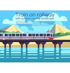 Train on railway with outdoor country landscape vector
