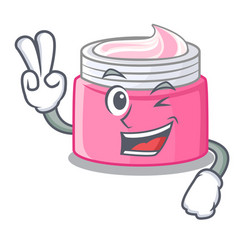 Two finger face cream in the cartoon form vector