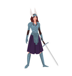 valkyrie or mythological female warrior holding vector image
