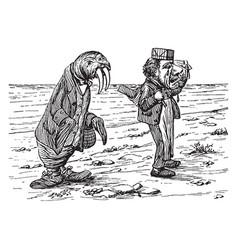 walrus and carpenter vintage vector image