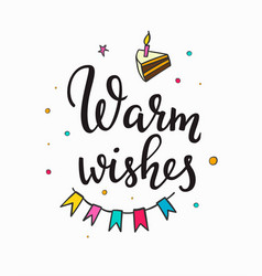 warm wish birthday party lettering typography set vector image