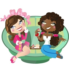 Women having tea vector image