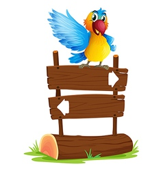 A colorful bird and the signboard vector image vector image
