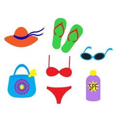 beach accessories vector image vector image