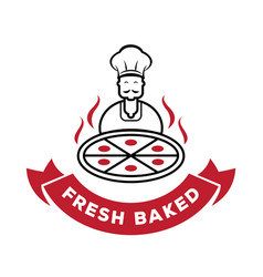 chef serve fresh baked pizza logo vector image vector image