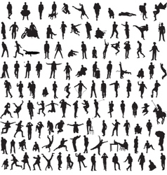 Collection silhouettes of men vector image vector image