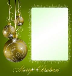 green merry christmas postcard vector image vector image