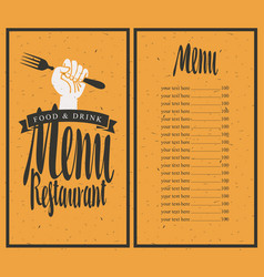 menu on red background with fork in hand vector image
