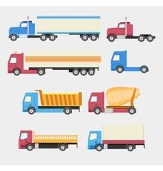 Trucks set flat style icons vector