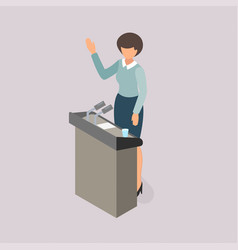 woman voting on the platform vector image vector image