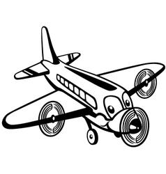 cartoon airplane black white vector image vector image