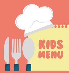 Kids menu cuttlery kitchen design vector