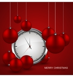 Modern red christmas balls with watch vector