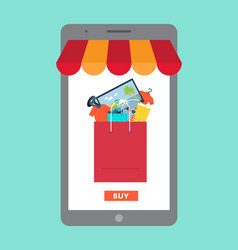 online shopping in mall concept vector image