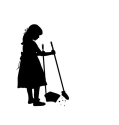silhouette girl is cleaning sweeps the floor vector image
