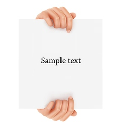 two hands holding sign vector image vector image