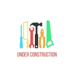 under construction logotype with colored tools vector image vector image