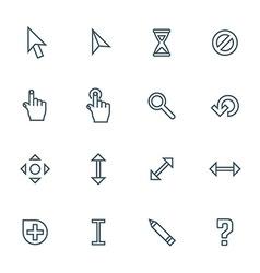 dark color contour various cursors icons set vector image