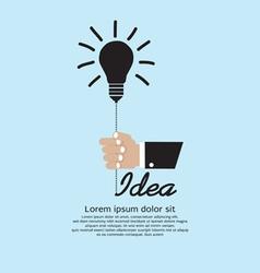Hand Holding Light Bulb Inspiration vector image
