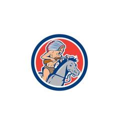 Native American Indian Chief Riding Horse Cartoon vector image vector image