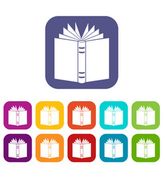 Open thick book icons set vector