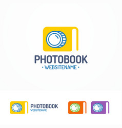 photobook logo set with book and lens vector image