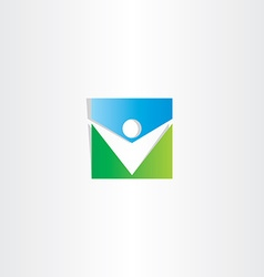 square icon green blue man vector image vector image