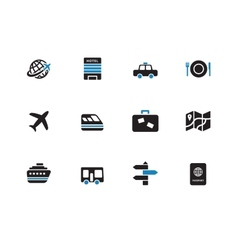 Travel duotone icons on white background vector image vector image