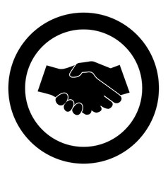business handshake icon black color in circle vector image