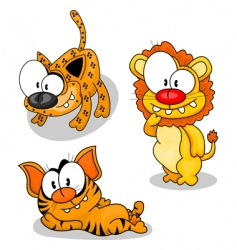 cartoon big cats vector image vector image