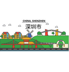 china shenzhen city skyline architecture vector image