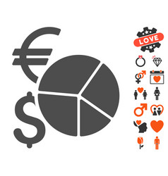 currency pie chart icon with love bonus vector image vector image